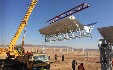 The largest parabolic trough power plant in China has installed the first collectors